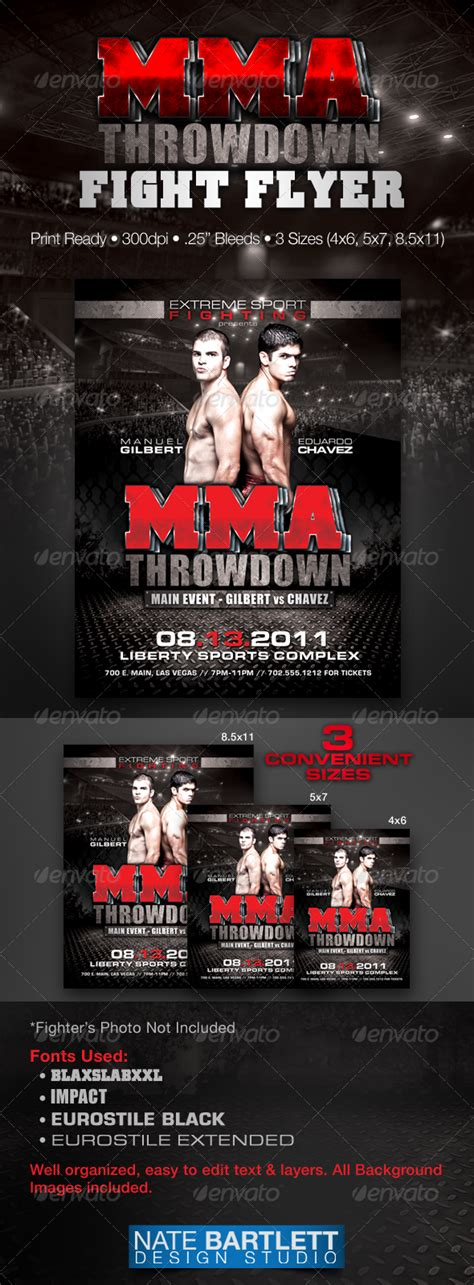 ufc card template mma fight flyer by natedilli graphicriver