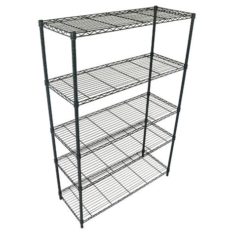 adjustable 5 tier wire wide shelving unit black room