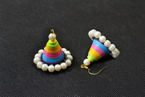 Easy Handmade Colorful Quilling Paper Cone Dangle Earrings With Pearl Carol S Crafts House