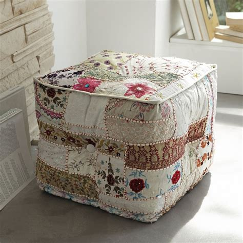 Patchwork Footstool - patchwork ottoman creative inspiration