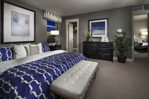 Grey white and royal blue master suite smokey blue instead of royal