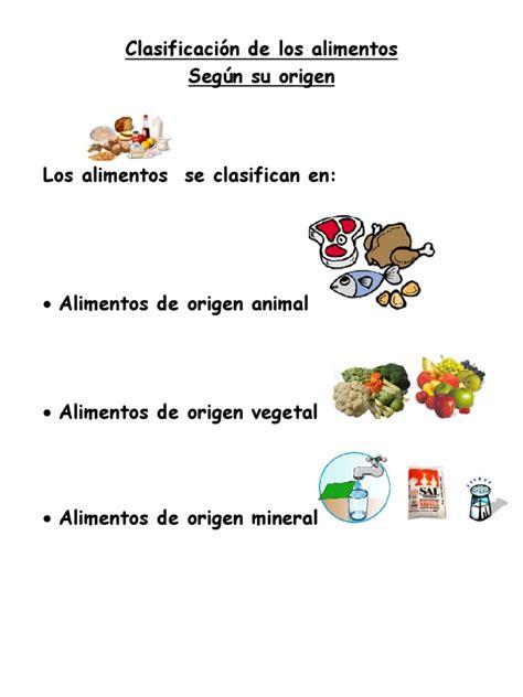 origen de los alimentos mineral clasificacion de los alimentos segun su origen
