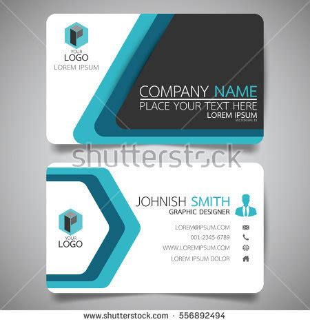 horizontal business card size template blue modern creative business card name stock vector