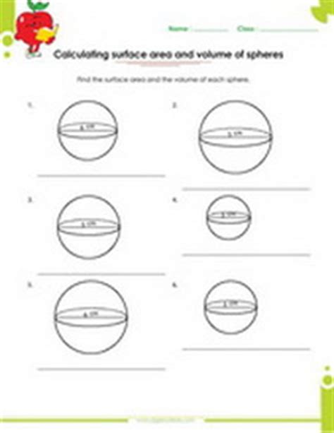 Surface Area Of A Sphere Worksheet by Surface Area Volume Of Solid Figures Worksheets