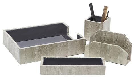 Modern Desk Accessories Set Zanzibar Desk Accessories Gray 4 Set Contemporary Desk Accessories By Dean