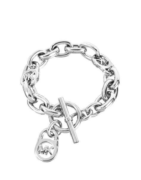 michael kors logo lock charm s bracelet in silver lyst