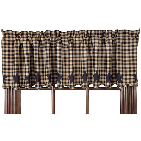 black valance curtains star and check scalloped country curtain valance navy