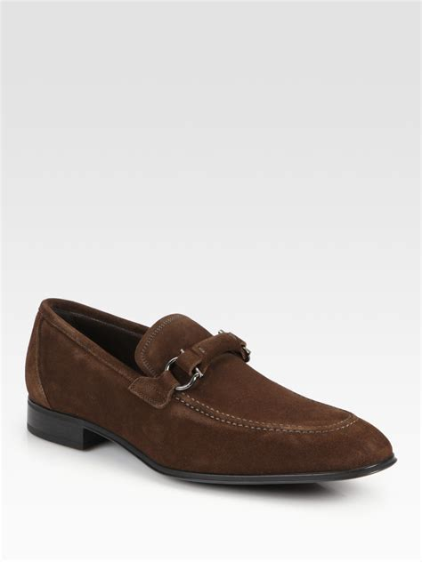 loafers suede ferragamo brendan suede loafers in brown for lyst