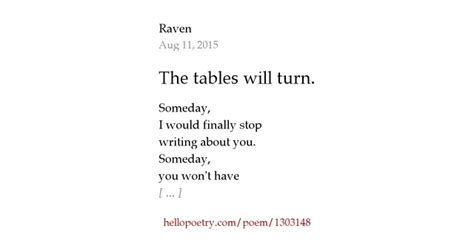 The Tables Turned by The Tables Will Turn By Hello Poetry