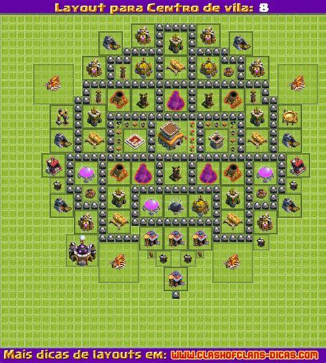 layout cv8 defesa layouts para clash of clans centro de vila 8