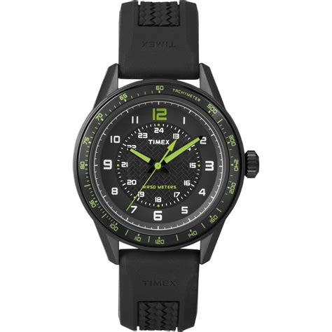 Timex Classic Sports Watch with Black Green Dial T2P024