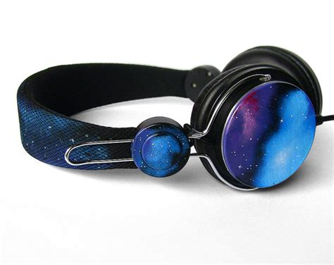 Headset Galaxy space galaxy nebula cosmic headphones earphones by ketchupize