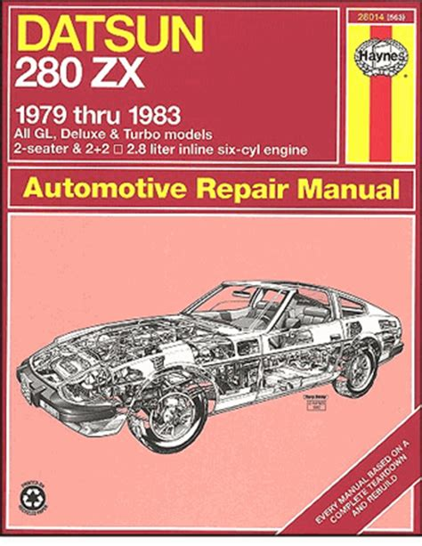 datsun 280zx gl turbo deluxe repair manual 1979 1983 haynes