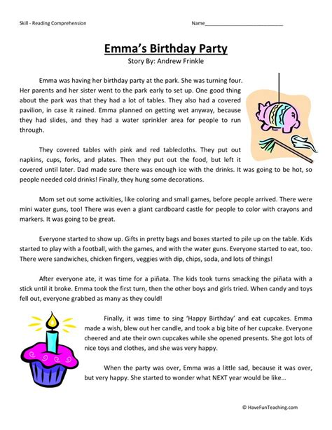Level 4 Reading Comprehension Worksheets by Reading Comprehension Worksheet S Birthday