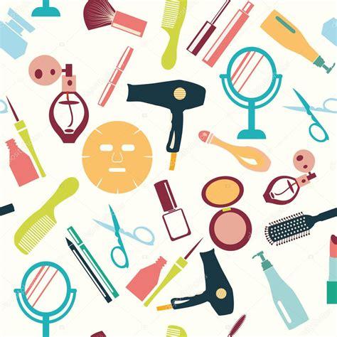 Set Make Up V Asia set of make up themed pattern illustration stock vector
