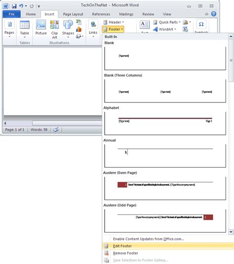 creating header and footer in word 2010 ms word 2010 create a footer