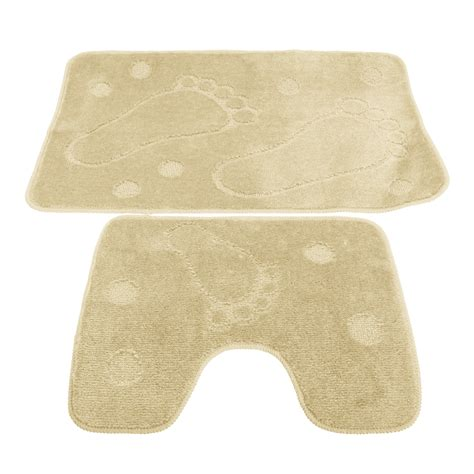 2 piece bathroom rug set 2 piece footprint design bathroom bath mat and pedestal