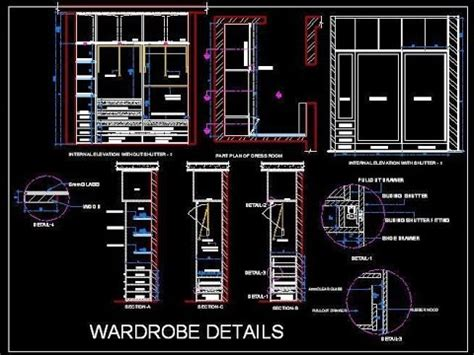 Hanging Bookshelf sliding wardrobe cupboard working drawing autocad file