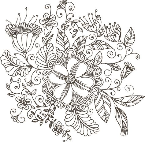 flower doodle ai 花のイラスト フリー素材 白黒 モノクロno 102 白黒 手書き風