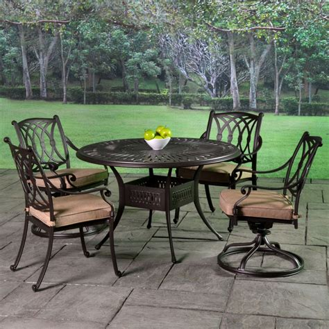 Cast Aluminum Patio Dining Set Stafford Cast Aluminum Cushioned Patio Dining Sets Patio Furniture Outdoor Patio Furniture