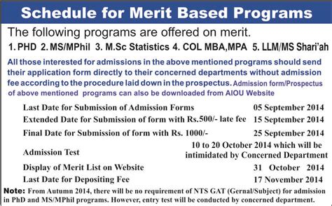 Aiou Col Mba Fee Structure by Aiou Admissions Are Open In Autumn 2014 Allama Iqbal