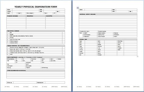 yearly physical examination form printable medical forms