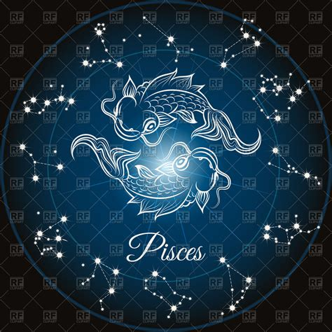 pisces sign zodiac sign pisces and circle constellations royalty free