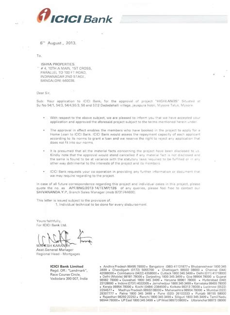 Bank Approval Letter For Visa Highlands Details Of Project