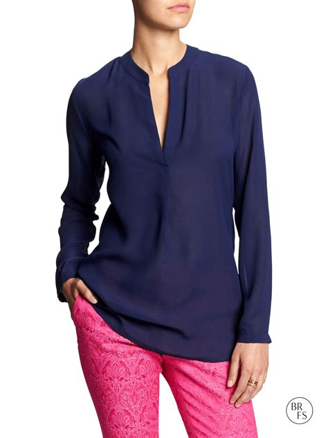 Blouse Navy banana republic factory sheer georgette blouse navy in blue navy lyst