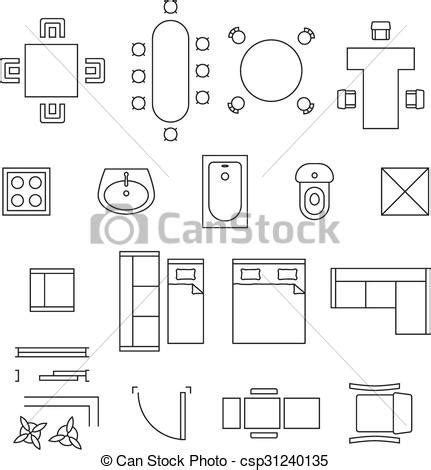 furniture clipart for floor plans vectors of furniture linear vector symbols floor plan