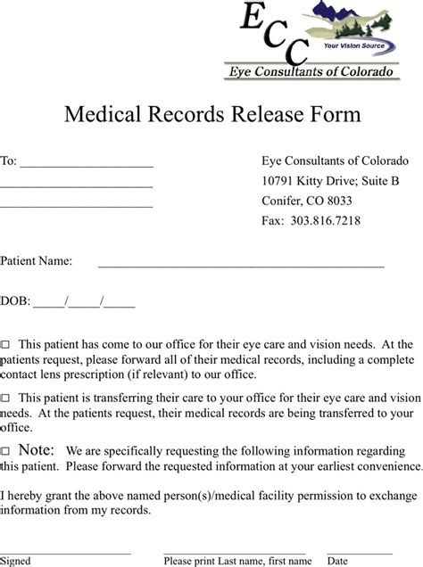 colorado medical records release form download free