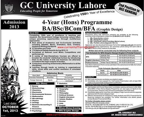 Mba Gcu Lahore by Gc Lahore Admission 2013 Bs Hons Ba B Sc Bcom