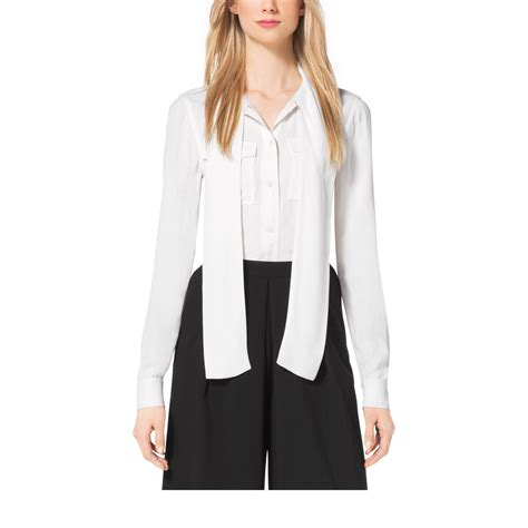 Michael Kors Tie Front Blouse by Michael Kors Tie Neck Blouse In White Lyst