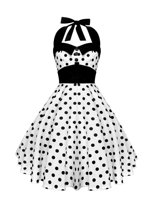 Dress 2 In 1 Dot White rockabilly pin up white black polka dot dress 50s