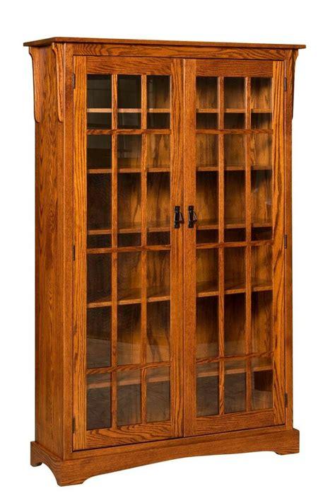 amish walker mission craftsman solid wood bookcase 2 glass