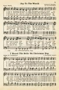 Joy to the world heard the bells on christmas day vintage sheet