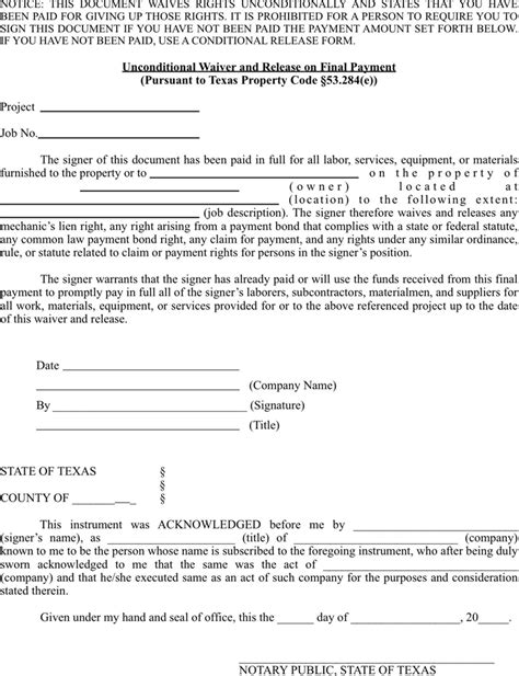 download texas unconditional lien waiver and release on