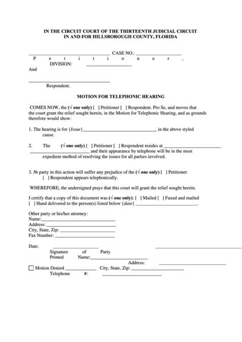 Fillable Motion For Telephonic Hearing Form printable pdf