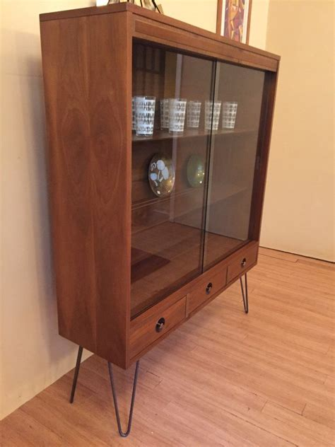 glass front storage cabinet mcm glass fronted walnut display cabinet with drawers by
