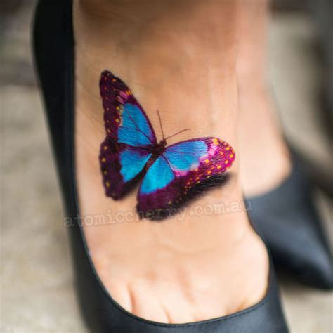 realistic 3d butterfly temporary tattoo flash rockabilly