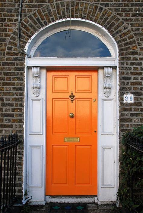 orange front door home design inspiration