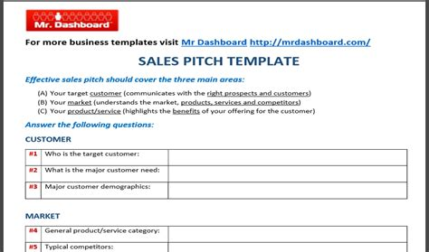 pitch template free sales pitch template sles and exles