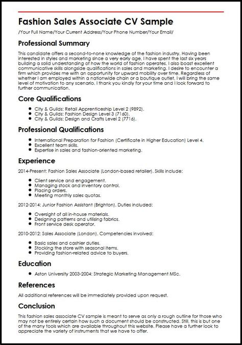 Job Objectives For Resume by Fashion Sales Associate Cv Sample Myperfectcv