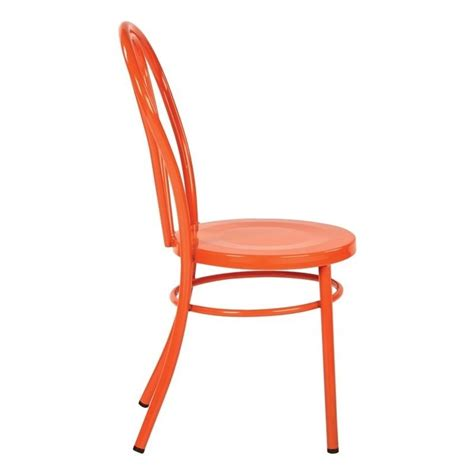 Orange Patio Chairs Metal Patio Dining Chair In Solid Orange Set Of 2 Od2918a2 18