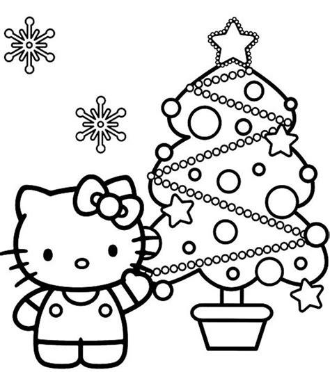 dibujos para colorear hello kitty 193 rbol de navidad