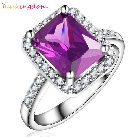 Top Dress Rings Ka2914 aliexpress buy yunkingdom new vogue square design white gold plated ring cubic zirconia
