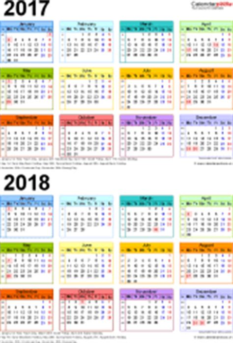 Two Year Calendars For 2017 2018 Uk For Word