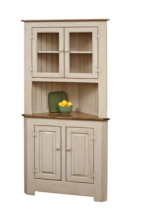 corner kitchen hutch furniture farmhouse pine wood corner hutch dutchcrafters amish