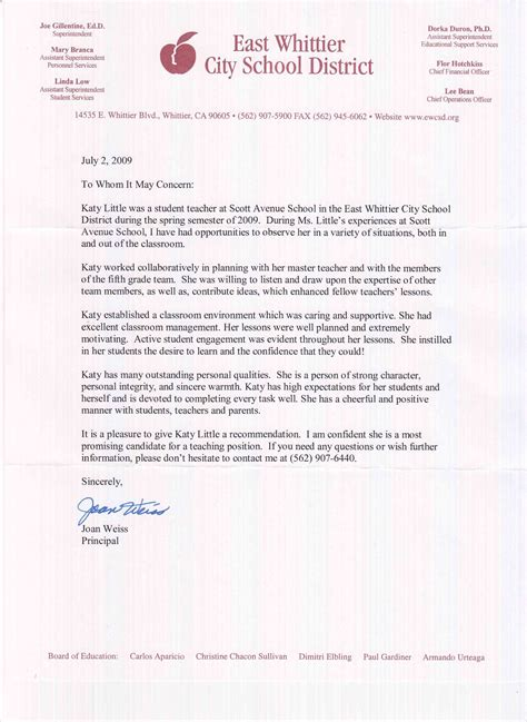 Recommendation Letter For A New Student Kathryn Letters Of Recommendation Student Teaching