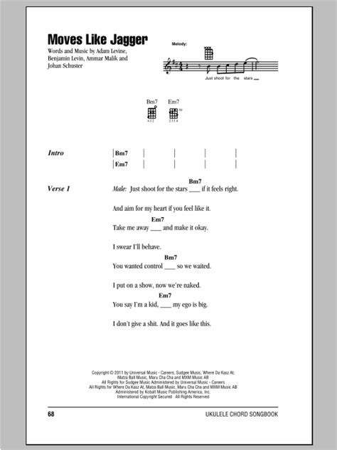 strumming pattern for yellow submarine moves like jagger sheet music direct
